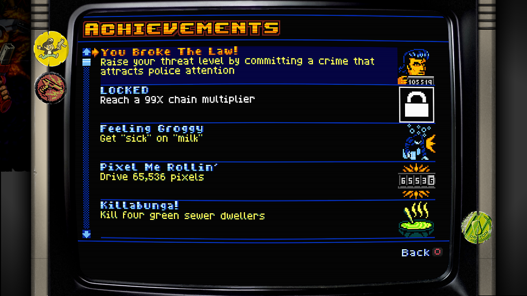 A sneak peek at Retro City Rampage achievements