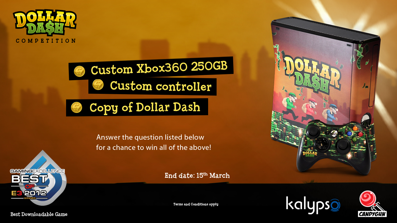 Win a custom 250GB Dollar Dash Xbox 360 console & more! *ENDED*