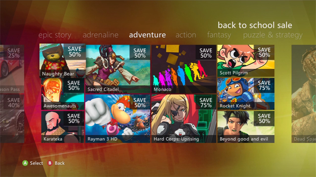 Save on Xbox Live Arcade with the Back to School Sale