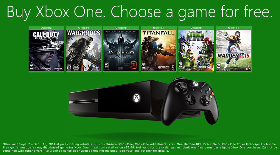 Buy a new Xbox One, get a free game of your choice